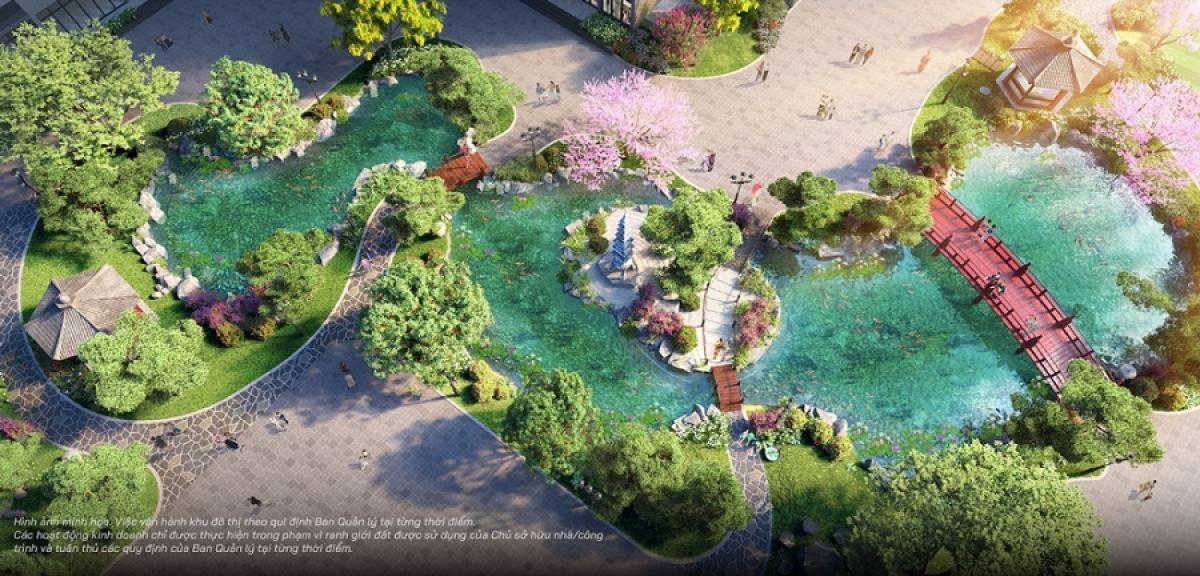 Vườn Nhật nội khu an nhiên – nơi cư dân The Zenpark tận hưởng trọn vẹn cuộc sống bằng tất cả các giác quan.