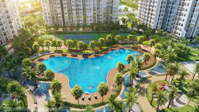 Phân khu The Miami với bể bơi ngoài trời rộng 1000m2.